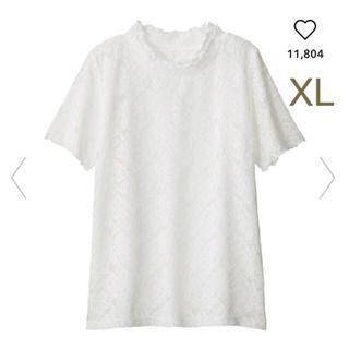 ジーユー(GU)のジーユー レースフリルネックT Tシャツ レース フリルネック GU(カットソー(半袖/袖なし))