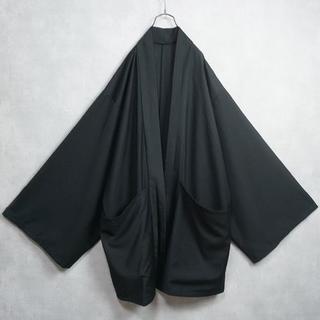ノーカラージャケット ガウン 羽織 着物 黒