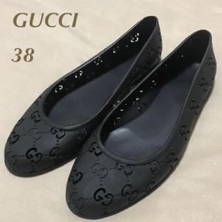 Gucci - GUCCI 透かしGG ラバーレインフラット BLK 38(24cm)