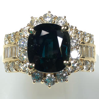 新品 未使用 存在感抜群 pt900  サファイア ダイヤモンド リング 指輪(リング(指輪))