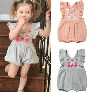 ベビーギャップ(babyGAP)のインポート子供服 刺繍サマーロンパース 新品未使用(ロンパース)