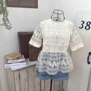 カスタネ(Kastane)の【美品】jacquard lace peplum blouse (ivory)(シャツ/ブラウス(半袖/袖なし))