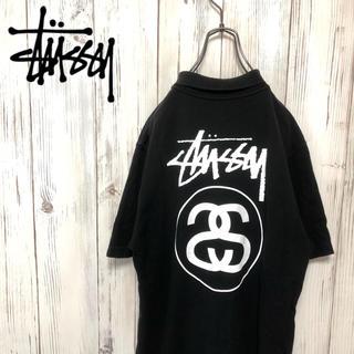 STUSSY - 【希少】90s ステューシー 超ドデカシャネルロゴ プリントポロシャツ