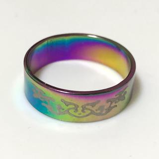 同時購入で300円 ステンレス指輪レインボー模様(リング(指輪))