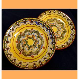 ★たこやきお様専用 ブルガリアのトロヤン焼 黄色のお皿2枚・ボウル2個(食器)