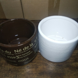 (未使用☆新品)ラウンド型 陶器製鉢カバー2個セット!