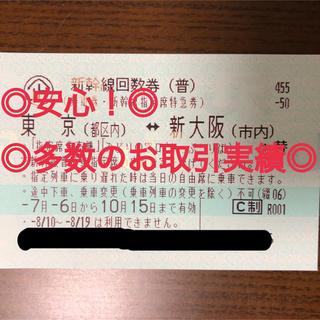 ジェイアール(JR)の3%オフクーポン利用可!  ★新幹線 回数券 指定席★東京〜新大阪★2枚 (鉄道乗車券)