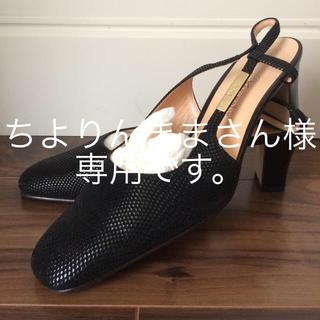ギンザカネマツ(GINZA Kanematsu)のGINZA kanematsu バックストラップの黒スェードパンプス(ハイヒール/パンプス)