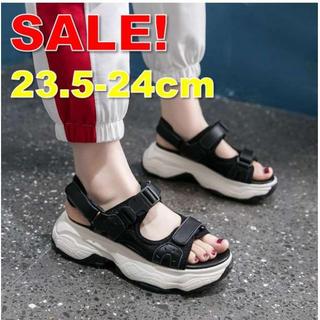 ★SALE!!★ 歩きやすい♪ 厚底スニーカーサンダル 黒 23.5~24cm(サンダル)