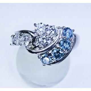 豪華な2色天然ダイヤモンド1.00ctデザインリング(リング(指輪))