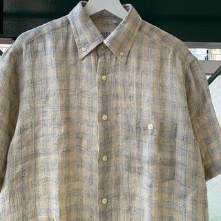 ART VINTAGE - 90s リネンシャツ チェックシャツ 古着 イタリア製 used vintage