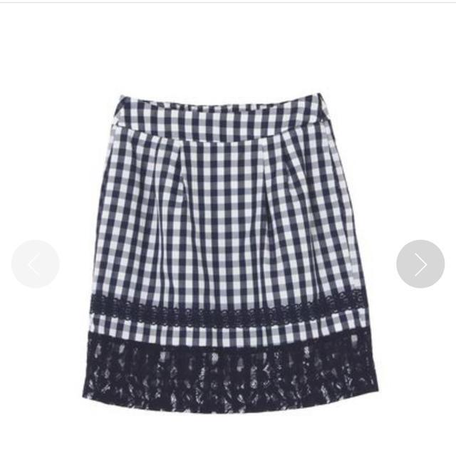 MERCURYDUO(マーキュリーデュオ)のMERCURYDUO ギンガム×レース ミニスカート(ネイビー) レディースのスカート(ミニスカート)の商品写真