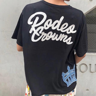 RODEO CROWNS WIDE BOWL - デニム パッチ Tシャツ BLK/F