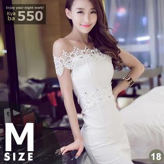 キャバドレス 18W 白 ホワイト ボディコン ミニ ビーズデコ S-M-L(ミニドレス)