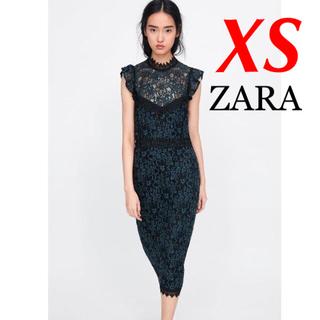 ザラ(ZARA)の新品 完売品 ZARA XS レース ワンピース BK(ひざ丈ワンピース)