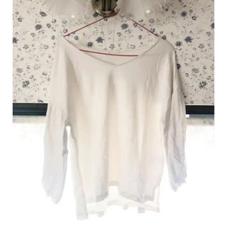 ジーユー(GU)のブラウス 七分袖 ホワイト 白 GU(シャツ/ブラウス(長袖/七分))