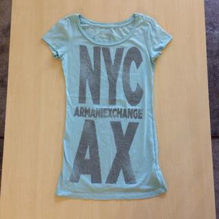 アルマーニエクスチェンジ(ARMANI EXCHANGE)の値下げ!アルマーニ エクスチェンジ 綿ミントグリーンのロングTシャツXS(Tシャツ(半袖/袖なし))
