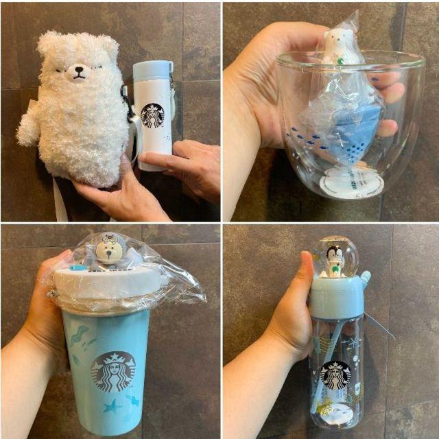 Starbucks Coffee(スターバックスコーヒー)のスタバ 白熊 ファミリー ダブルグラス カップ 氷山漉し 7月 海外限定 最安値 インテリア/住まい/日用品のキッチン/食器(グラス/カップ)の商品写真