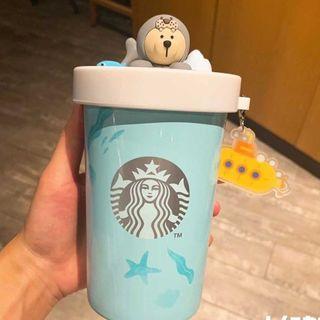 Starbucks Coffee - スタバ 可愛い アザラシ ベアリスタ ダブル珐琅 カップ 7月 海外限定 最安値