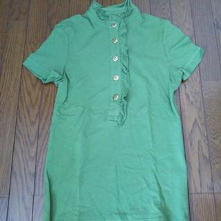 トリーバーチ(Tory Burch)のトリーバーチ ポロシャツ レディース XS  グリーン フリル ボタン(ポロシャツ)