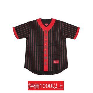 シュプリーム(Supreme)のSupreme Vertical Logo Baseball Jersey 黒M(Tシャツ/カットソー(半袖/袖なし))