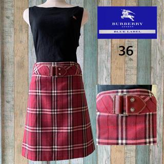 バーバリーブルーレーベル(BURBERRY BLUE LABEL)のレア 美品!バーバリーブルーレーベル ベルト付きチェックタイトスカート S(ひざ丈スカート)
