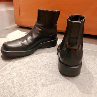 グッチ(Gucci)のGUCCIメンズ美品サイドゴアブーツ♡black41(ブーツ)