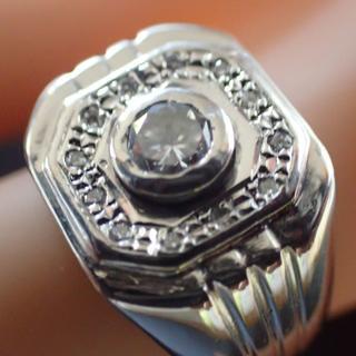 【PT900】天然ダイヤ:印台メンズダイヤモンドリング:サイズ16号:磨き済:(リング(指輪))