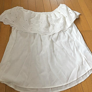 ジーユー(GU)のGU オフショルダー 白 ブラウス XL(シャツ/ブラウス(半袖/袖なし))