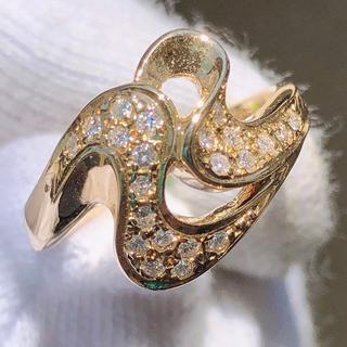 ダイヤモンド 指輪 リング k18yg 18金 ウェーブ 曲線 ダイヤリング