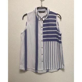 ザラ(ZARA)のZARA ストライプ × ボーダー ノースリーブ シャツ コットン100(シャツ/ブラウス(半袖/袖なし))