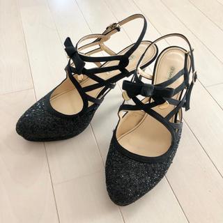 ストロベリーフィールズ(STRAWBERRY-FIELDS)のストロベリーフィールズミュールパンプス結婚式グリッター靴パンプス黒ラメ(ハイヒール/パンプス)