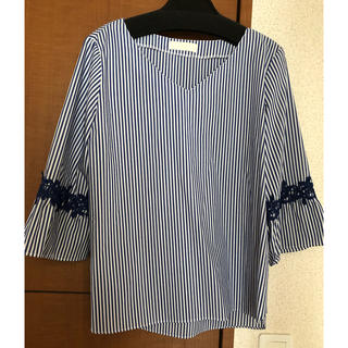 anySiS - ストライプ 袖刺繍 トップス