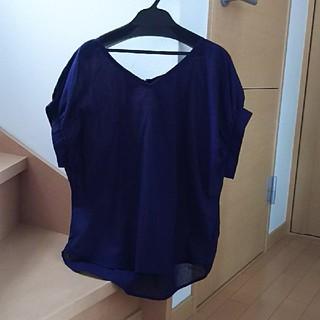 ViS - vis  シャツ  半袖  2way  紺色  麻  フリーサイズ