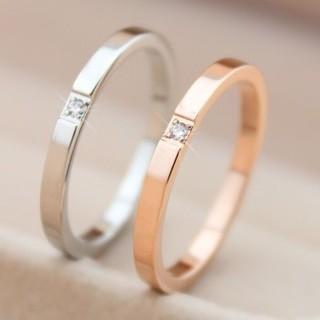 キラキラ1ポイント関節リングやピンキーリングにもサージカルステンレスリング指輪 (リング(指輪))