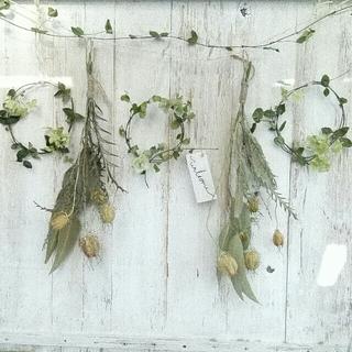 グリーンの小花のリース &  スワッグの ガーランド(ドライフラワー)
