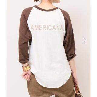 アメリカーナ(AMERICANA)のAmericana  ベースボールTシャツ  ブラウン(Tシャツ(長袖/七分))