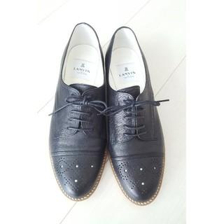 ランバンオンブルー(LANVIN en Bleu)の未使用近い 綺麗 ローファー 黒 美品 お洒落 ローヒール バレリーナ (ローファー/革靴)