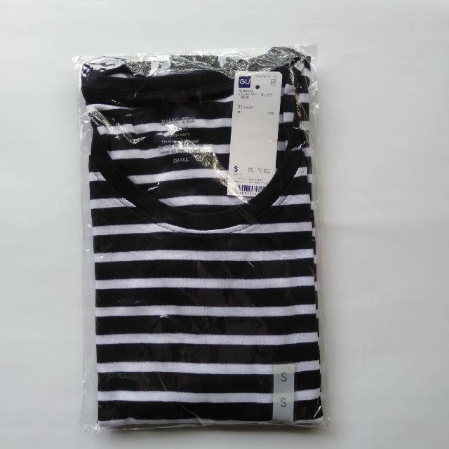 GU(ジーユー)の新品タグ付き Sネイビー ボーダー長袖クルーネックTシャツ 綿100% 匿名配送 レディースのトップス(Tシャツ(長袖/七分))の商品写真