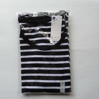 ジーユー(GU)の新品タグ付き Sネイビー ボーダー長袖クルーネックTシャツ 綿100% 匿名配送(Tシャツ(長袖/七分))