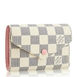 LOUIS VUITTON - LV ダミエ ミニ財布 折りたたみ ピンク ゴールド金具