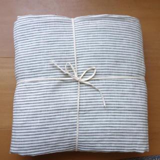 ムジルシリョウヒン(MUJI (無印良品))の無印良品 麻平織り 掛け布団カバー セミダブル ストライプ(シーツ/カバー)