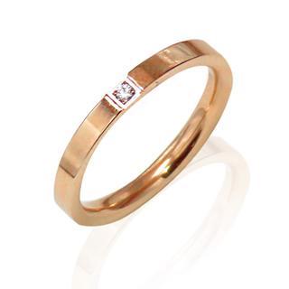 リング 指輪 一粒ジルコニア ピンクゴールド サージカルステンレス レディース(リング(指輪))