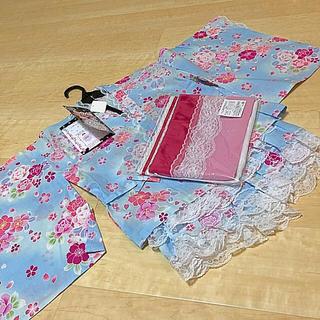 西松屋 - 新品・未使用 子ども浴衣ドレスセット(パンツ)130 おまけ付き