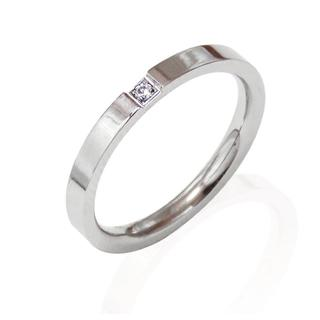 リング 指輪 一粒ジルコニア シルバー サージカルステンレス レディース(リング(指輪))