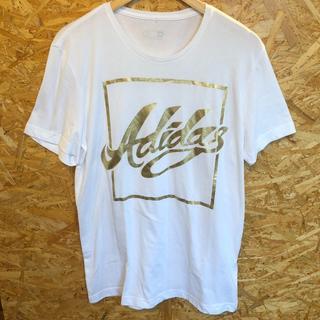 アディダス(adidas)のアディダス 白ボディ ゴールドロゴ サイズXL相当(Tシャツ/カットソー(半袖/袖なし))