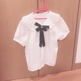 Ank Rouge - ブラウス襟付きブローチ付き 白 清楚系