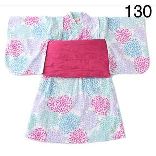 petit main - プティマイン 浴衣 紫陽花柄 ワンピースタイプ オフホワイト 130 新品