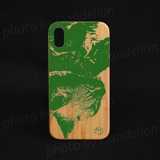 ナチュラルな竹製 iPhoneケース オリジナル 猫の昼寝 スマホケース 緑(スマホケース)
