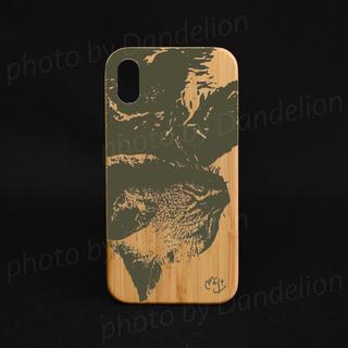 オリジナル(Original)のナチュラルな竹製 iPhoneケース オリジナル 猫の昼寝 スマホケース 炭(iPhoneケース)